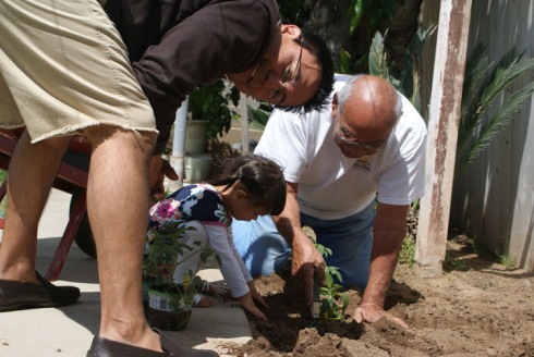 RT, Papa, and Gia Gardening in Fresno.