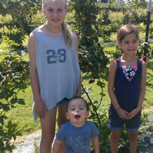 Berry picking at P-6 Farms this summer.
